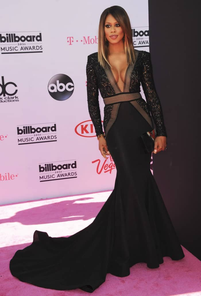 Laverne Cox is elegant in Michael Costello on the pink carpet of the 2016 Billboard Music Awards held at the T-Mobile Arena in Las Vegas on May 22, 2016
