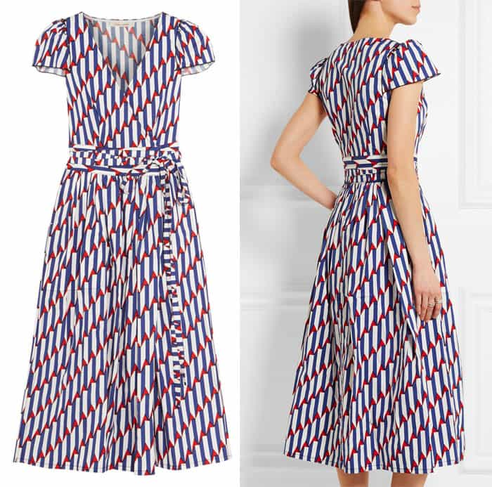 Marc Jacobs Arrow Print Stretch Poplin Wrap Dress