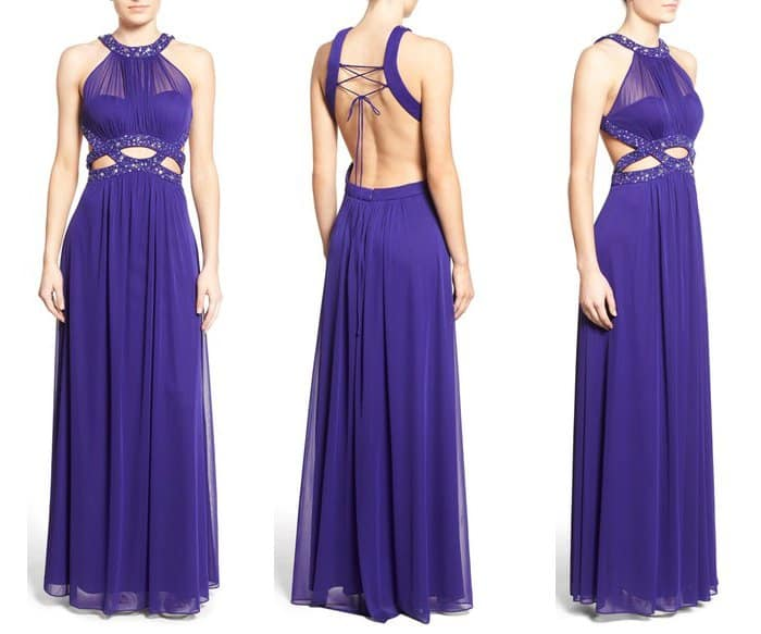 Morgan & Co Embellished Illusion Bodice Gown
