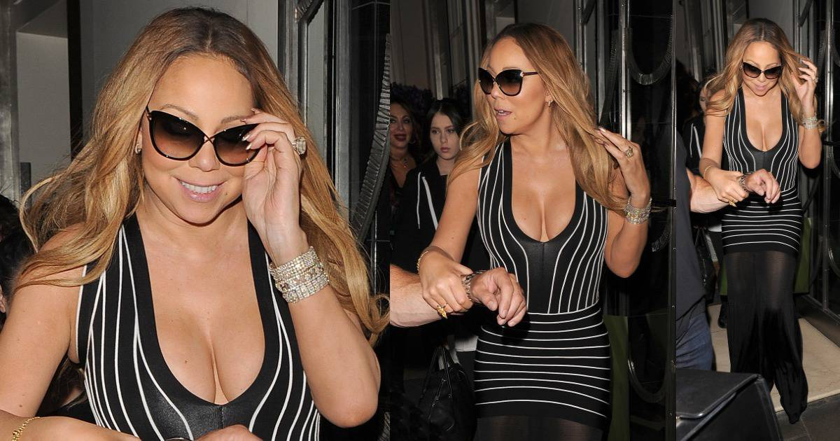 Cleavage overload mariah carey leaves london in plunging for Mariah carey jewelry line claire s
