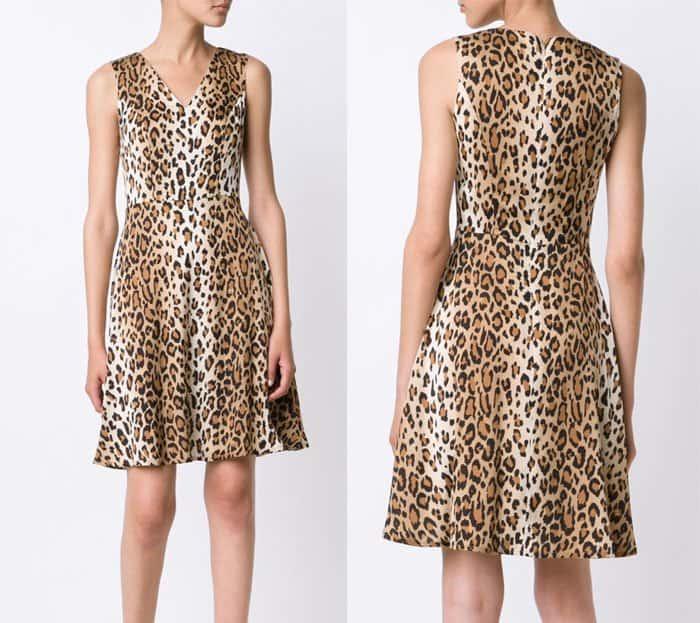 Carolina Herrera Leopard Print V Neck Dress