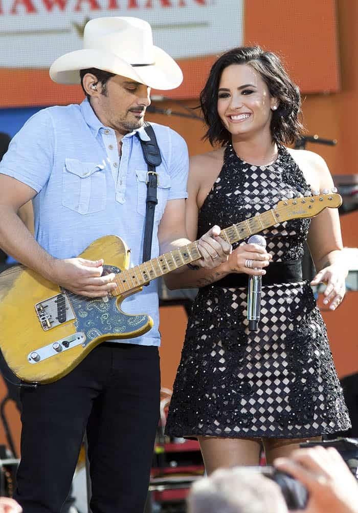 good morning america demi lovato sings in jovani lace dress