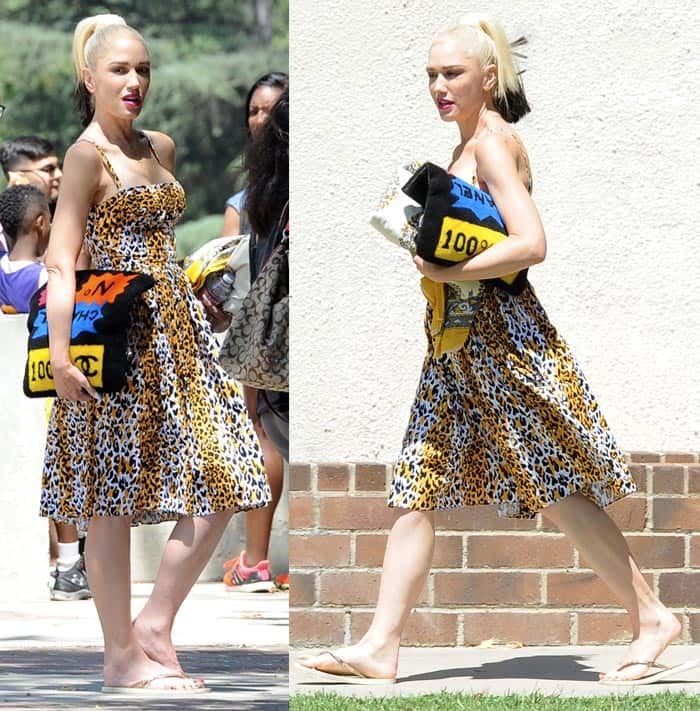 Gwen Stefani Leopard Print Dress2