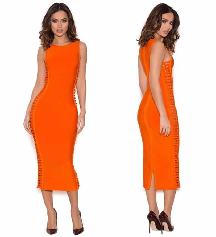 House of CB 'Martinique' Burnt Orange Bandage Dress3