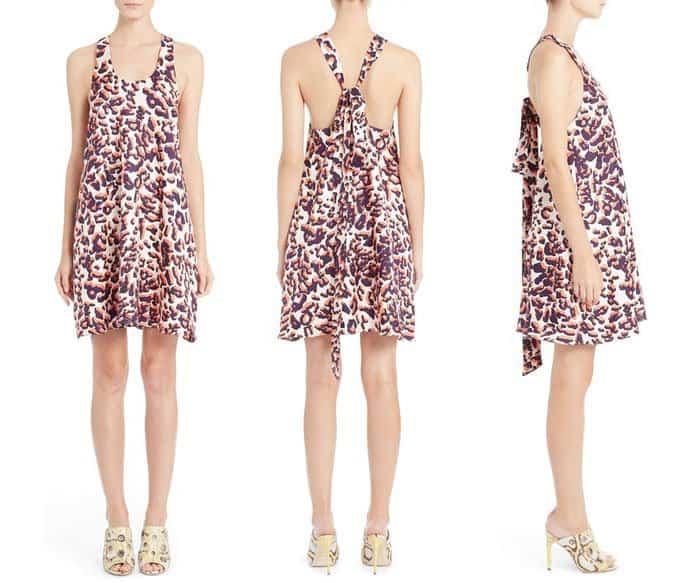 MSGM Scoop Neck Leopard Print Silk Dress