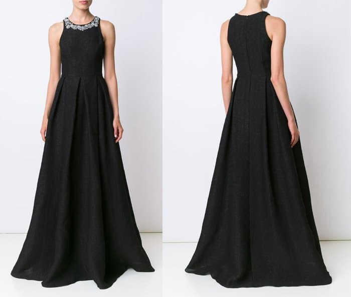Marchesa Notte Embellished Neck Gown