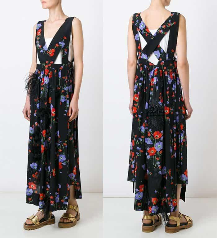 N21 Flower Print V-Neck Long Dress