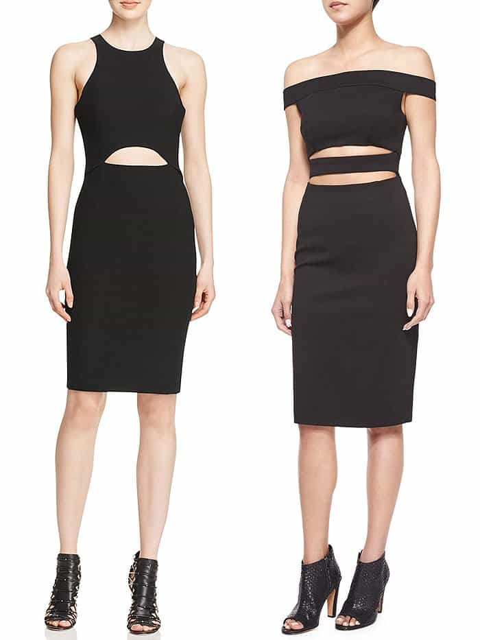 black cutout waist dresses