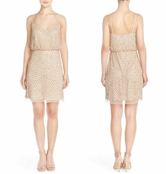 Adrianna Papell Sequin Mesh Blouson Dress3