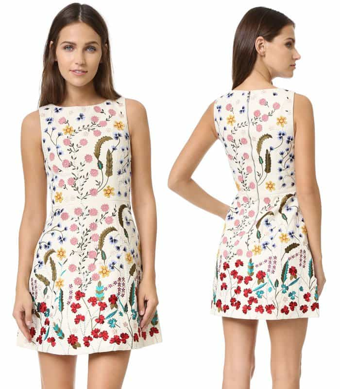 Alice + Olivia Lindsey Embroidered Pouf Dress