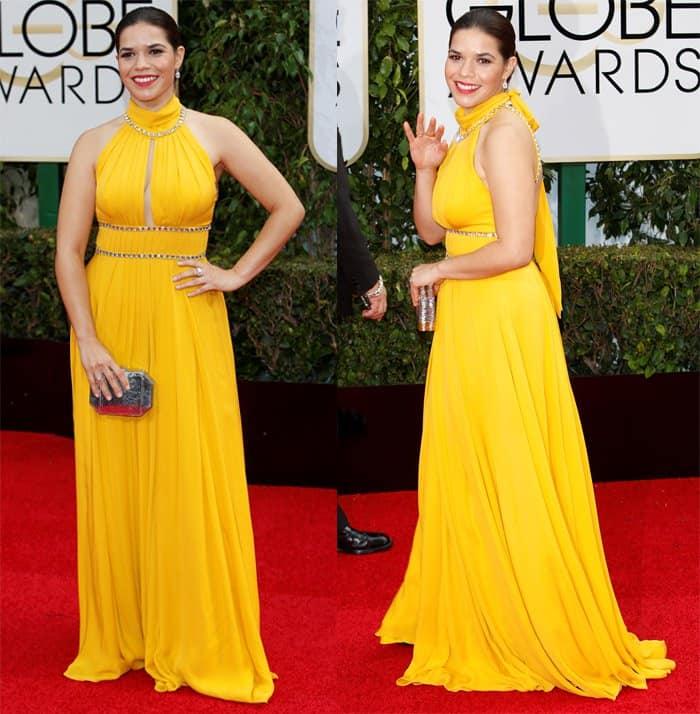 America Ferrera looked radiant in this Jenny Packham dress