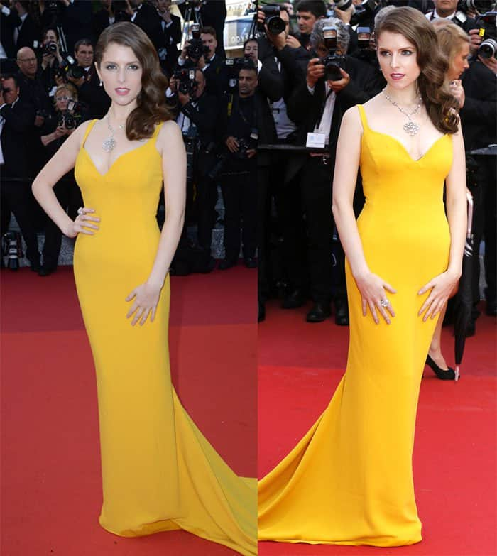 Anna Kendrick in a yellow dress at the 69th Cannes Film Festival in France on May 11, 2016