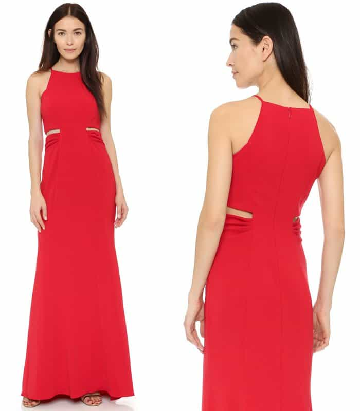 Badgley Mischka Collection Racer Neck Cutout Gown