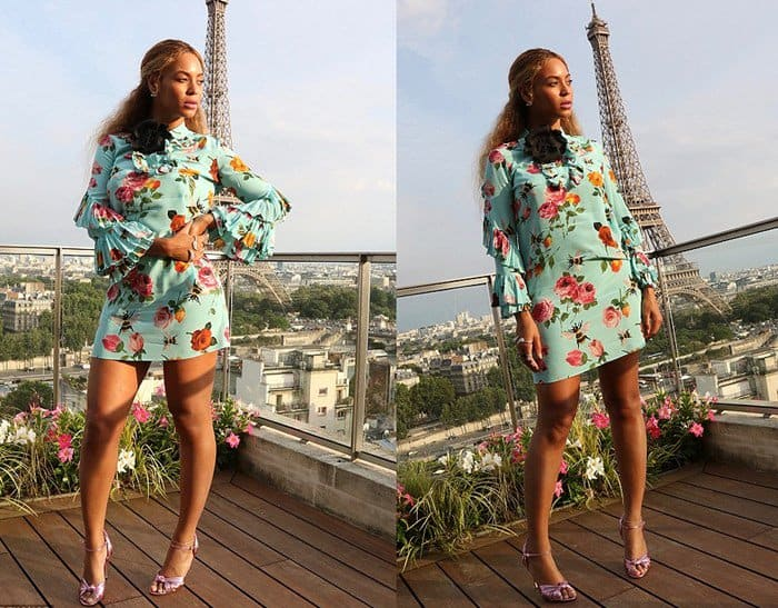 Beyonce and Blue Ivy in matching Gucci floral dresses paired with pink sandals