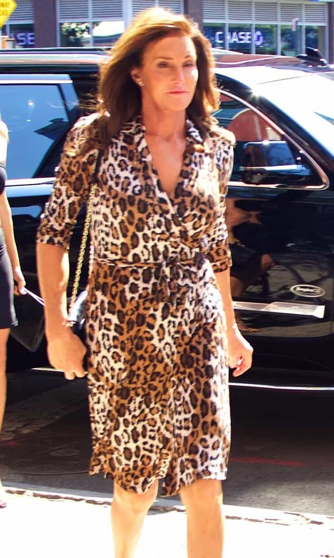 Caitlyn Jenner wearing a leopard Diane von Furstenberg wrap dress