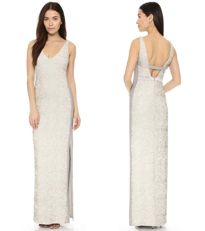 Halston Heritage Sequined Gown with Side Slit3