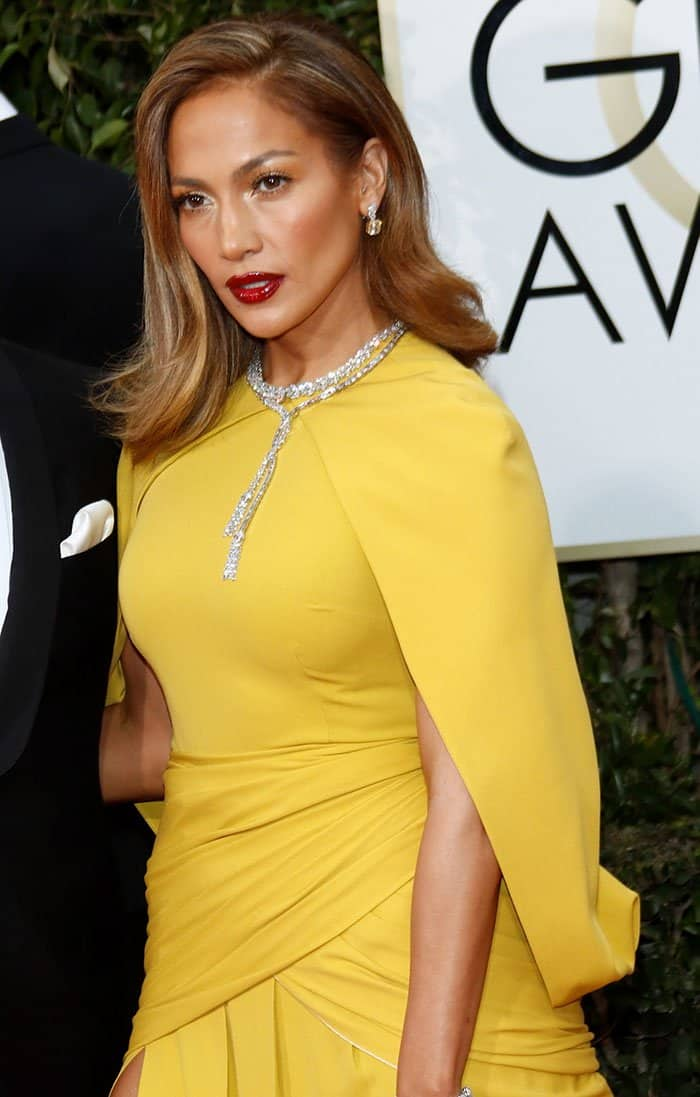 Jennifer Lopez at the 73rd Annual Golden Globe Awards