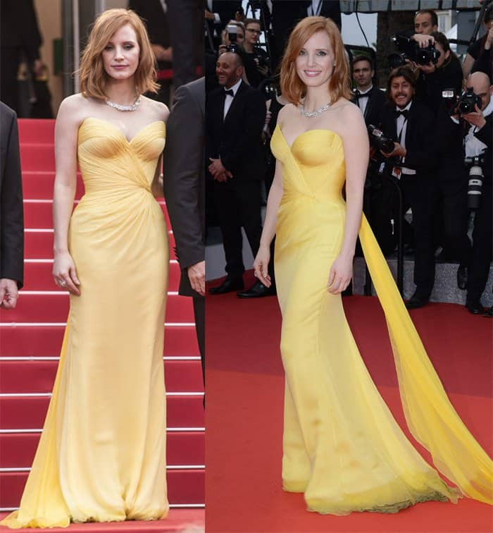 Jessica Chastain showed off her amazing figure during this year's Cannes in this Armani Prive wrap gown