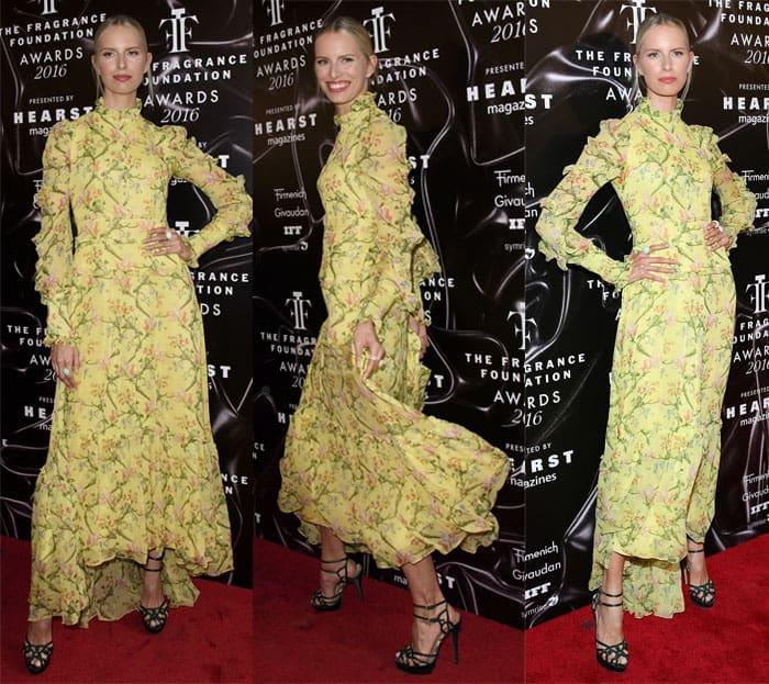 Karolina Kurkova in a yellow dress at the 2016 Fragrance Awards in New York on June 8, 2016