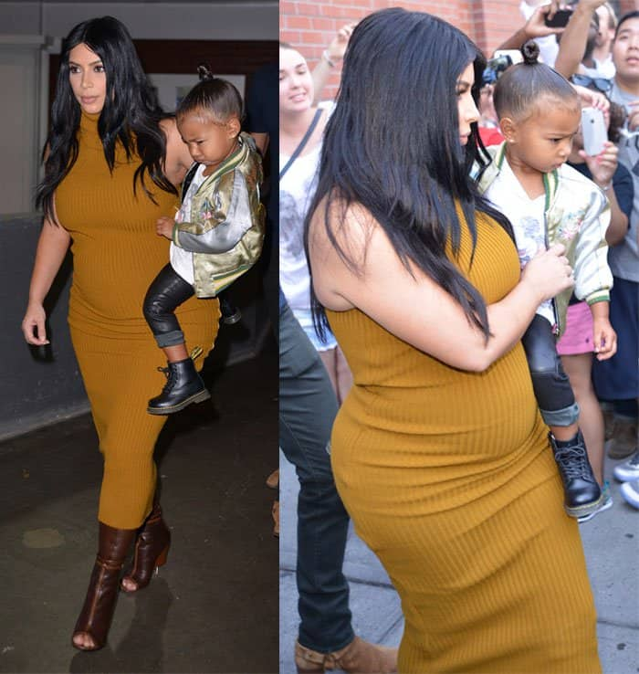 Kim Kardashian flaunting her baby bump in a Laquan Smith Fall 2015 mustard rib dress