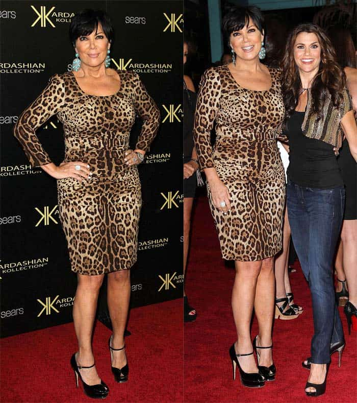 Kris Jenner in a form-fitting leopard print dress at the launch party of the Kardashian Kollection