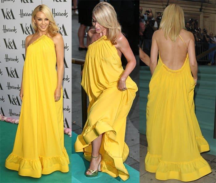 """Kylie Minogue channeled her inner Greek goddess in Stella McCartney's Resort 2016 """"Astrid"""" halter dress"""