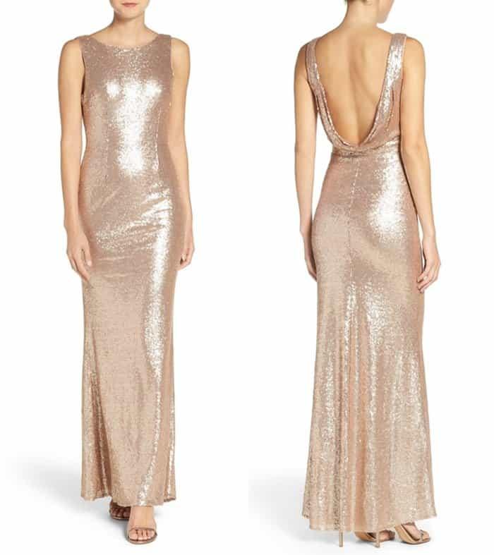 Lulus Lulu's Sleeveless Sequin Drape Back Gown3