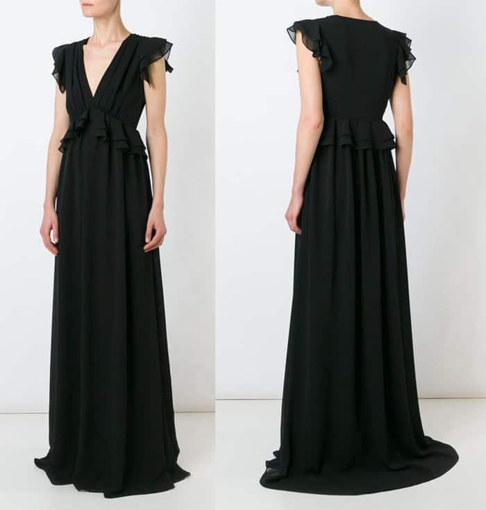 MSGM Ruffle Waist V Neck Dress