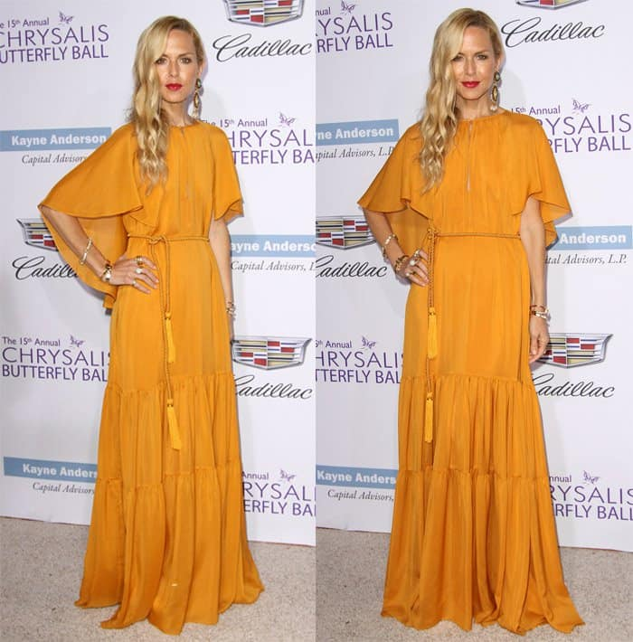 Rachel Zoe in a mustard yellow maxi dress from her own fashion label