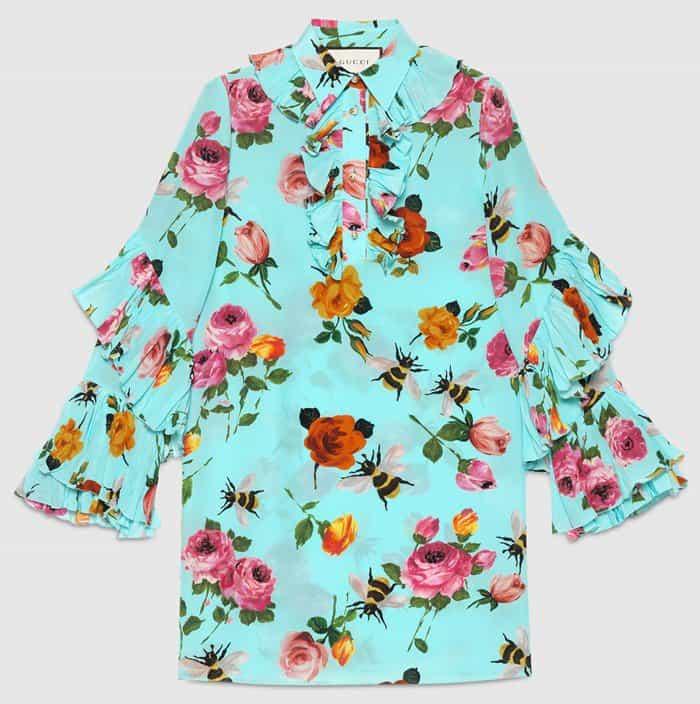 Rose Print Silk Ruffle Dress