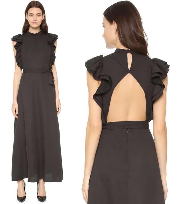 Shakuhachi Open Back Ruffle Dress
