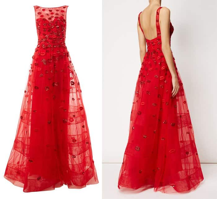 Zuhair Murad Embellished Lip Gown