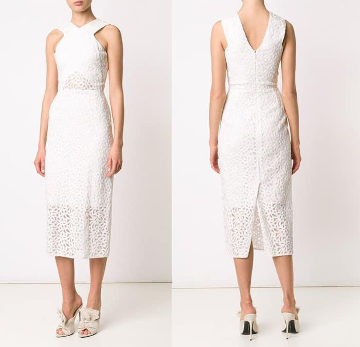 Christian Siriano Fitted Lace Midi Dress