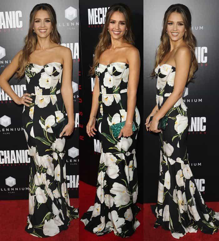 4544249258fe Jessica Alba Lovely in Dolce   Gabbana Tulip Gown