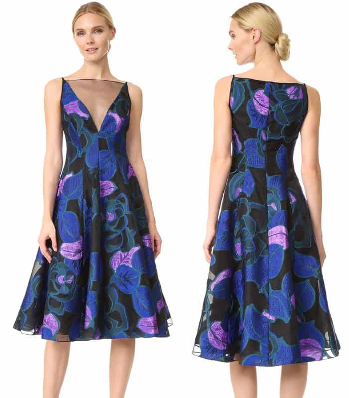 Lela Rose V Neck Full Skirt Dress