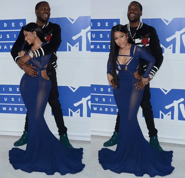 Nicki Minaj and her boyfriend Meek Mill wrapped their arms around each other at the 2016 MTV Video Music Awards held at Madison Square Garden on Sunday in New York City