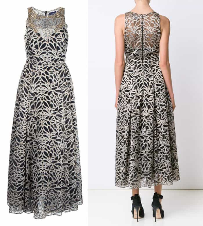 marchesa-notte-embroidered-flared-dress