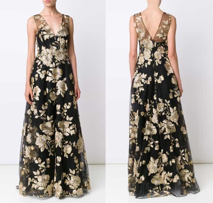 marchesa-notte-floral-brocade-dress