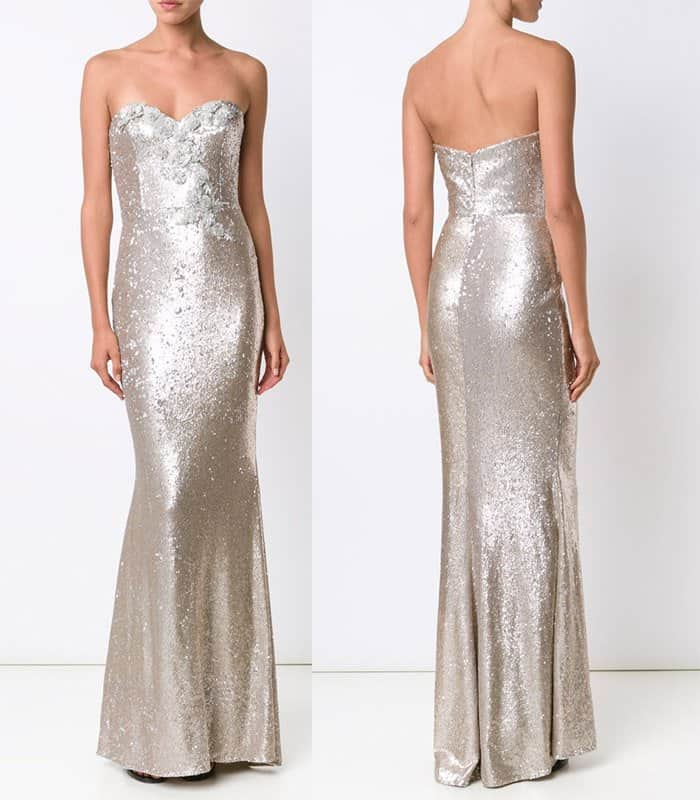 Marchesa Notte Sequin Embellished Gown