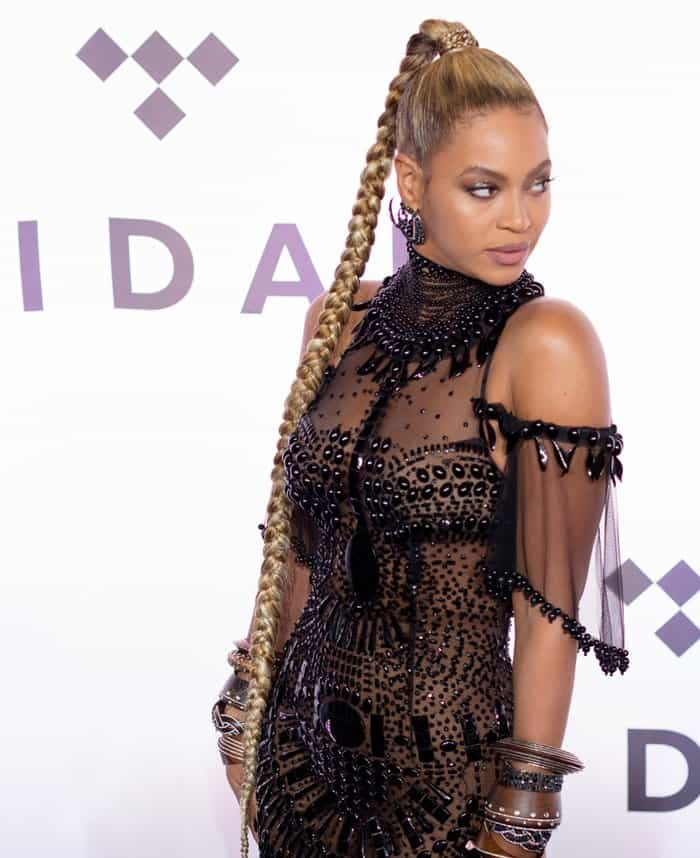 Beyonce turns heads in a sheer dress by Guillermo Gattioni and Christian Louboutin's 'So Kate' pumps