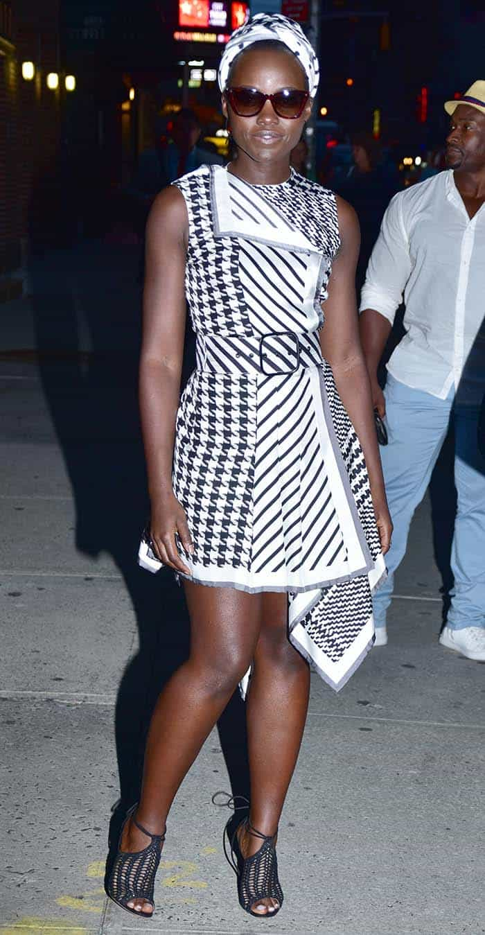Lupita Nyong'o outside 'The Late Show with Stephen Colbert' studios