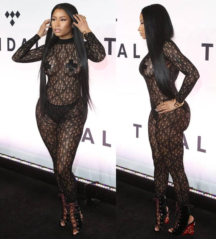 Nicki Minaj leaves little to the imagination in a Maison Margiela lace bodysuit with a pair of black suede lace-up Prada wedge booties