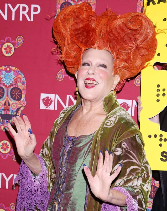 Bette Midler at the 2016 Hulaween Bash to benefit the New York Restoration Project, held at the Waldorf Astoria Hotel on October 29, 2016