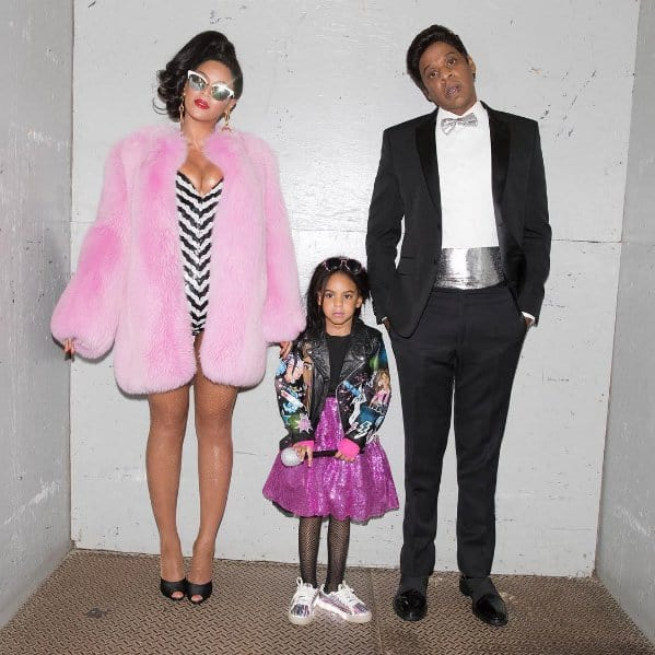 Beyonce, Jay Z and the adorable Blue Ivy dressed up as Black Barbie and family