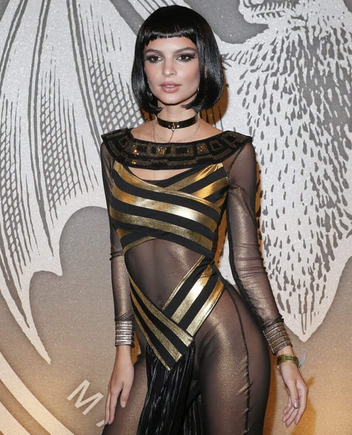 Emily Ratajkowski channeled Cleopatra as a sexy Egyptian queen in a metallic sheer bodysuit and a black wig
