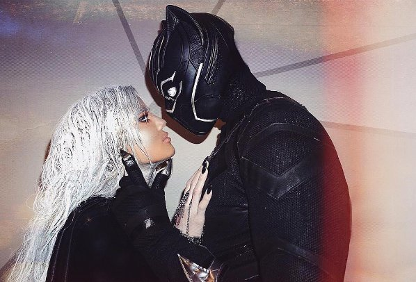 Boyfriend Tristan Thompson dressed up as Black Panther and the couple posted a sweet pose on Instagram