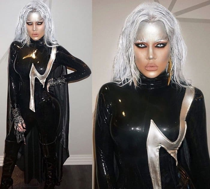 Khloe Kardashian sported a super sexy leather costume and nailed her mutant look as Storm