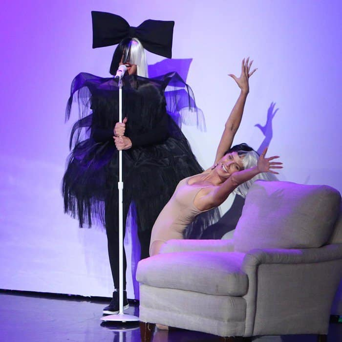 """Ellen was joined by Heidi Klum as the two performed the hit song """"Chandelier"""" as Sia and Maddie Ziegler"""