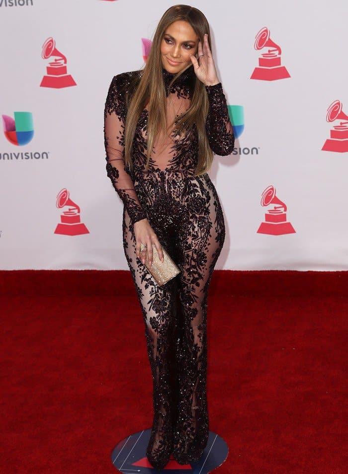 Jennifer Lopez Flaunts Curves In Sheer Zuhair Murad Jumpsuit