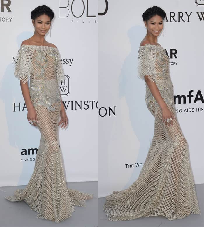 Chanel Iman at the amfAR fundraiser event at Hotel Du Cap Eden Roc in France on May 19, 2016